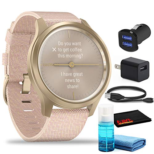 Garmin vivomove Style Hybrid Smartwatch (42mm, Light Gold Aluminum Case Woven Nylon) with USB Adapters and Cleaning Kit