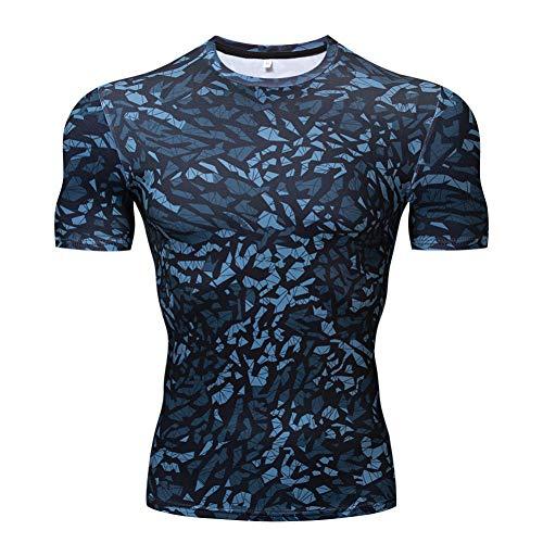 CXKNP Neues Camouflage T-Shirt Herren Kompressionshemd Kurzarm Bodybuilding T-Shirt Fitness Brand T-Shirt