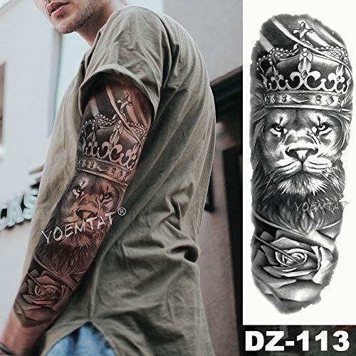 Handaxian 3pcsBig Arm Ärmel Tattoo Löwe Krone wasserdicht Tattoo Aufkleber Wilder Wolf Muster Männer voll Totem Tattoo