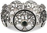 styleBREAKER Lebensbaum Gummizug Armband mit Perlen und Strass besetzten Amuletten, Boho Style, Damen 05040060, Farbe:Schwarz-Grau