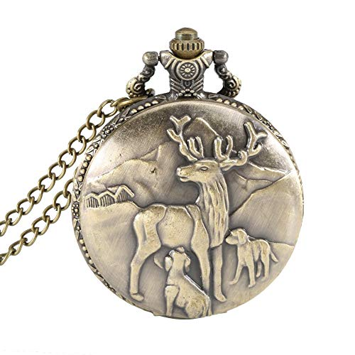 Pocket Watch Vintage Deer Bronze Case Quartz Pocket Watch Pendant Necklace Women Men Chain Clock Gifts