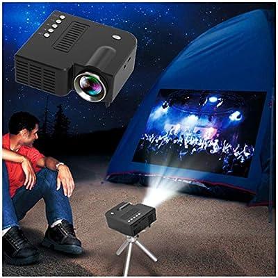 Mini LED Projector 1080P Portable Multimedia Home Cinema Theater Video Projectors Black (USB Port)