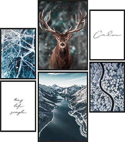 Papierschmiede® Mood-Poster Set Eiszeit   Bilder als Wanddeko   Wohnzimmer & Schlafzimmer   2X DIN A4 und 4X DIN A5   Elch Winter Schnee Frost - ohne Rahmen