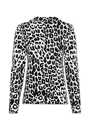 HALLHUBER Jacquardpullover mit Leopardenmuster gerade geschnitten Offwhite, M