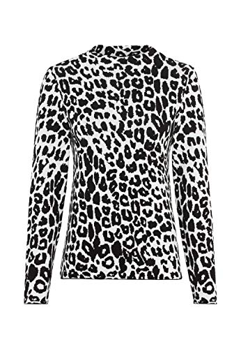 HALLHUBER Jacquardpullover mit Leopardenmuster gerade geschnitten Offwhite, L