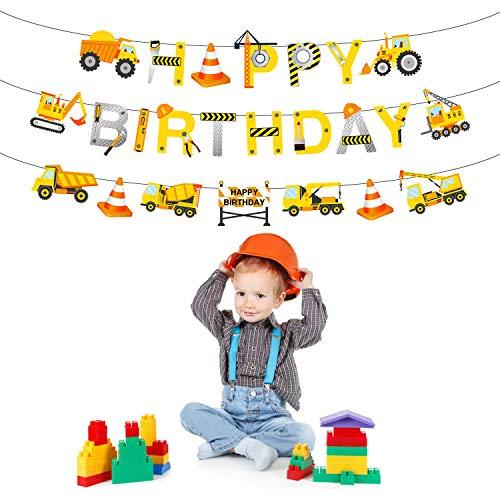 Phogary Banner Alles Gute zum Geburtstag Happy Birthday, Baustelle Themenparty Dekoration, Bagger Truck Builder Bulldozer Tank Garland Party Favors Geburtstag Party Dekor für Jungs Kinder