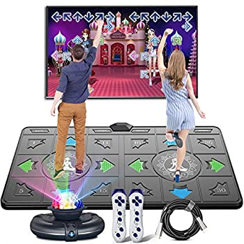 Dance Mat for Kids and Adults,Musical electronic dance mat Double User Yoga dance mat with Wireless Handle HD Camera Game Multi-Function Host Non-Slip Massage Dance Pad HDMI Interface for TV