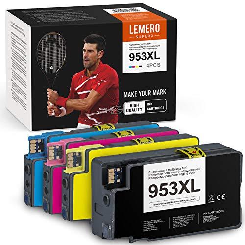 4 LEMERO SUPERX Kompatibel für HP 953XL Tintenpatronen für HP Officejet 8702 7720 7730WF Pro 8210 8211 8218 8710 8717 8718 8719 8720 8721 8725 8728 8730 8731 8740 AIO Drucker,(4er-Pack