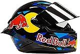 Egrus Casco de Motocicleta a través, Casco Red Bull Full Red Bull Casco Casco de Motocicleta Certificación ECE para Motocicleta Mountain Racing Downhill Ciclismo Cachorro Completo XL
