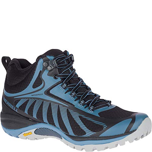 Merrell Women's Siren Edge 3 Mid Waterproof Hiking Boot, Black/Bluestone, 5.5