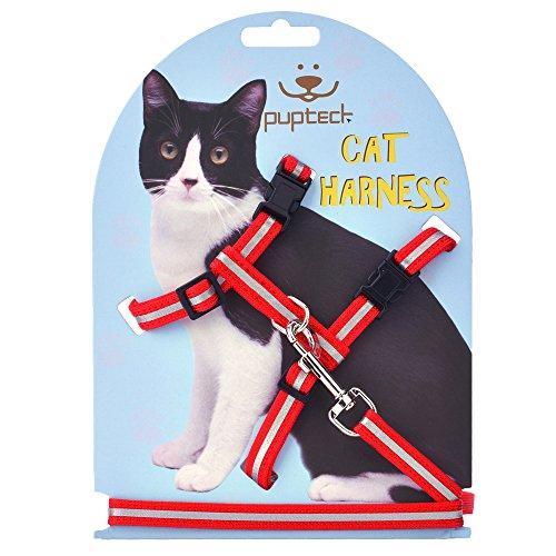 펍텍 조절형 고양이 하네스 나일론 스트랩 칼라