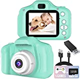 Kids Camera, 1080P FHD Digital Video Recorder Shockproof Action Cameras with 2 Inch IPS Screen and 32GB SD Card for Girls Boys Gifts Green