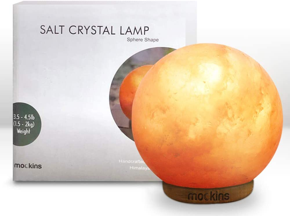 mockins Natural Himalayan Salt New Free Charlotte Mall Shipping Sphere Lamp Wood Beautiful B with