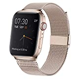 MCORS Compatible with Apple Watch Band 44mm 42mm,Stainless Steel Mesh Metal Loop with Adjustable Closure Replacement Bands Compatible with Iwatch Series 5 4 3 2 1 Gold (Retro)