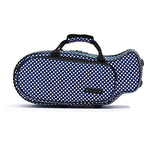"""Beaumont """"Blue Polka Dot"""" Trompetenkoffer Tasche für die meisten BB Trompete Lightcase Softcase Gigbag Instrumenten-Tragekoffer Umhängetasche Rucksack-Trageriemen wasserfest  Geschenkidee"""