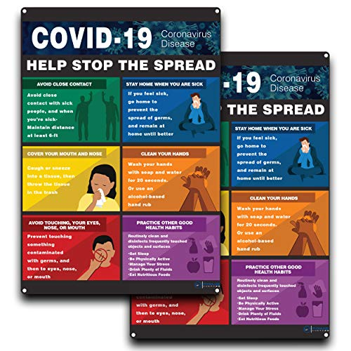 COVID 19 Help Stop The Spread Sign, for Indoor or Outdoor Use - 2 Signs, Hard Plastic Durable Plastic with Holes, Avoid Close Contract, Stay Home Sick, Cover Mouth, Clean Hands, covid Sign 10 x 7