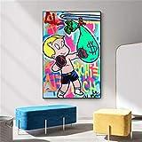 Danjiao Richi Geld Graffiti Kunst Leinwand Gemälde An Der Wand Kunst Plakate Und Drucke Street Art Leinwand Bilder Wohnkultur Wohnzimmer 60x90cm