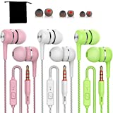 3 Pack Wired Headphones Earbuds White Green Pink Earbuds Includes S,M,L Sizes eartips and a Free Carry Pouch