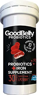 GoodBelly® Probiotic Supplement for Digestive Health - Iron Supplement Support for Women - Aids in Digestion & Iron Absorption {1 Box - 30 Capsules}