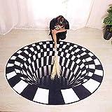 DF - Felpudo de Halloween (160 x 160 cm), diseño abstracto moderno geométrico, alfombra de ilusión 3D, alfombra de ilusión visual 3D, alfombra de área redonda para dormitorio