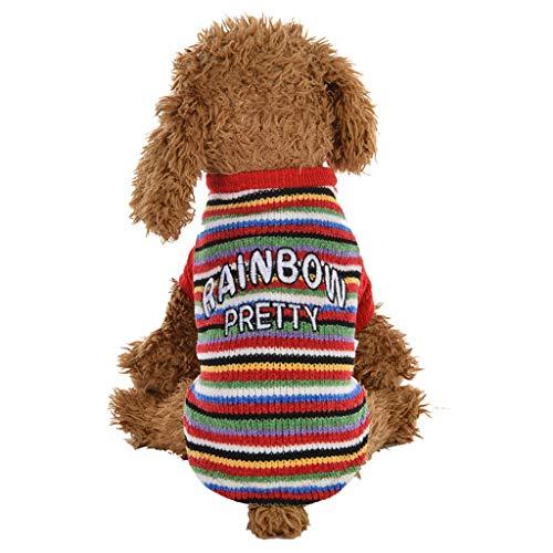 BBring Gestreift Stricken Pullis für Katzen Hunde, Langarm Pullis Brief Muster Rainbow Pretty Herbst Winter Warm Sweatshirt Haustier Kleidung für Hündchen Kätzchen (S, Rot)