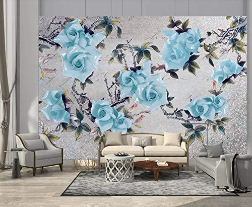 Papel Pintado 3D Flor De Cerámica Rosa Azul Vintage Fotomurales 3D Murales Papel Tapiz Pared Decorativos Moderno Wallpaper