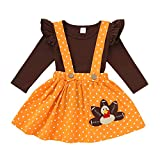 Thanksgiving Kids Toddler Baby Girl Turkey Ruffle Sleeve Shirt+Wave Point Overall Skirt Set Fall Outfits Clothes (Turkey, 4-5 Years)
