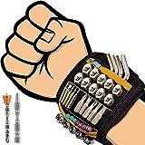 Flintronic Wristband Magnético, Con 2 Puntas De Destornillador MagnéTico Cruzadas Hexagonales, 20Potentes Imanes, Pulsera Magnética Herramientas Bricolaje Fijar Uñas, Tornillo, Tuerca, Clavos y Brocas