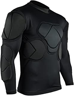 TOPWISE Body Safe Guard Padded Compression Shirts, Long Sleeve Shoulder Rib Chest Protector Suit for Football Basketball Paintball Rugby Parkour Extreme Exercise