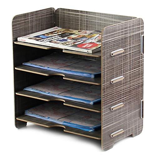 Organizador de escritorio de madera para guardar documentos o documentos de almacenamiento, organizador de documentos DIY, 4 capas