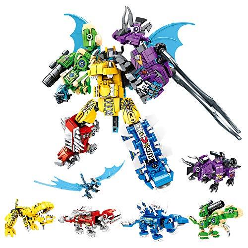 RuiDaXiang Blocchi di Costruzione del Robot Dinosauro Giocattolo,6 in 1 Transforming Kinds Dinosaur Mech Warrior, Elemento costitutivo Giocattoli DIY per 6-12 Anni Bambini Ragazzi Ragazze(649pcs)