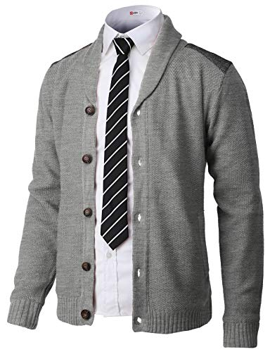 H2H Mens Classic Shawl Collar Button Up Cardigan with Shoulder Point Gray US XL/Asia 2XL (CMOCAL028)