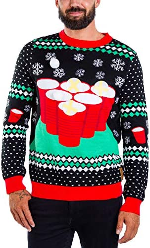 Tipsy Elves Beer Pong Men s Ugly Christmas Sweater Cheer Pong Funny Black Interactive Game Tacky product image