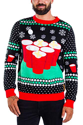 Men's Cheer Pong Game Sweater - Funny Beer Pong Christmas Sweater: S Black