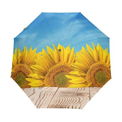 Orediy Paraguas plegable automático mesa de madera en campo de girasoles resistente...