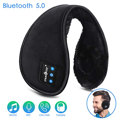 Bluetooth Ear Muffs for Men Women Top Cool Tech Gadgets Unique Christmas Gifts for Mom Dad Her Teen Boys Girls Ear Warmers Headphones, LC-dolida Winter Bluetooth Earmuffs Foldable