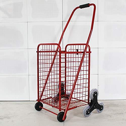 RSWLY Carro de la Compra Carro 8 Ruedas Escaleras Escalera Carro de Equipaje Hogar Tri-Rueda Plegable Carro de Empuje y tracción (Color : Red)
