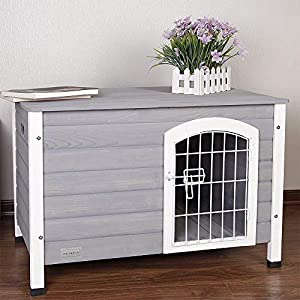 Petsfit Indoor Wooden Dog House with Wire Door for Small Dog