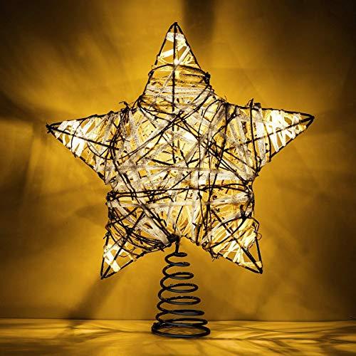 YXZQ Star Tree Topper, Beaux rotins Brillants Twined Glitter Star décoration de la Maison à Piles Brilliant décoratif lumière, Arbre de Noël Tradition Vacances éclairage Ornement décoration, arge