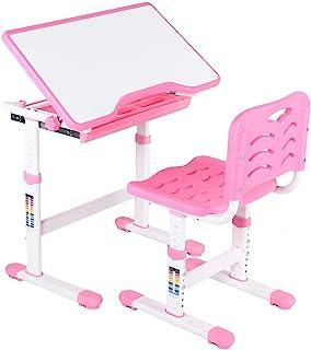 Daglig utrustning Barn studiebord Justerbar Barnstudie Läxa Skrivbordstol Barn Aktivitet Konstbordsset (Rosa)