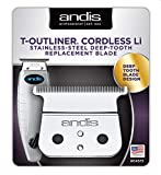 Andis 04575 Cordless T-Outliner Li Trimmer Stainless Steel Deep Tooth Replacement Blade