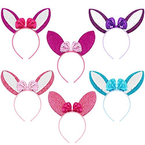 Frcolor Lot de 6 bandeaux oreilles de lapin de Pâques pour enfants et adultes