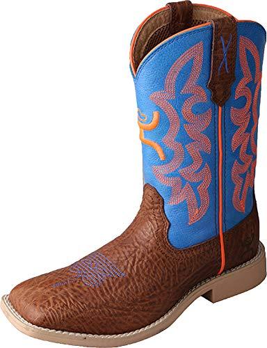 Twisted X Kid's Hooey Boot, Cognac Shoulder/Neon Blue, Big Kid 4
