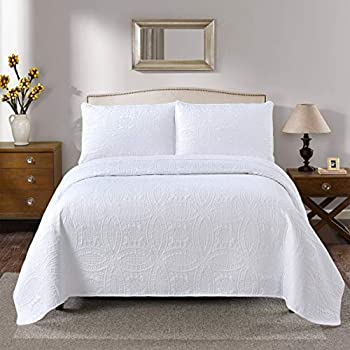 Golden Linens Ultrasonic #D2 Over Size 115  X 95  King/Calking 3 Pieces Solid Color Embossed Bedspread Coverlet Set # Ultrasonic D2 White King/Calking