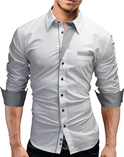 MERISH Hemd Slim Fit 5 Farben Größen S-XXL 02 Weiß XL