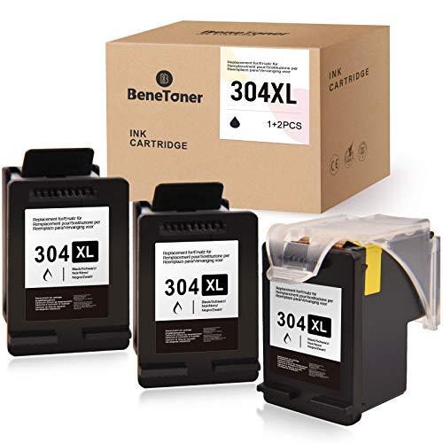 BeneToner Merotoner - Juego de 3 cartuchos de tinta compatibles con HP 304 304XL para DeskJet 2622 2633 2634 3720 3730 3733 3735 3750 3760 3762 3764 Envy 5010 5032 (3 negros).