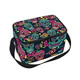 JOYPRINT Lunch Box Bag, Day Of The Dead Floral Flower Sugar Skull Insulated Cooler Ice Lunchbox Tote Bag for Women Men Boys Girls