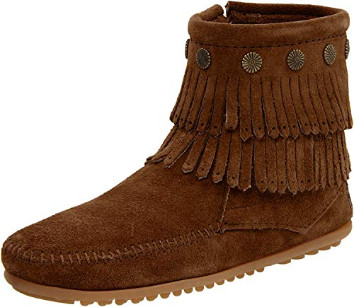 Minnetonka Damen Double Fringe Side Zip Boot Mokassin Stiefel, Braun (Dusty Brown), 38 EU