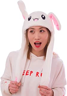 IronBuddy Rabbit Hat Ear Moving Jumping Hat Funny Bunny Plush Hat Cap for Women Girls, Cosplay Christmas Party Holiday Hat