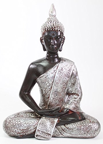 We pay your sales tax Feng Shui 11' Silver and Black Thai Meditating Buddha Home Decor Statue (KT00138)